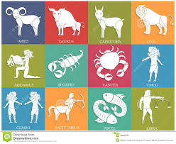 Aries Color twelve horoscope or zodiac sign collection stock illustration
