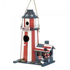 Lighthouse Garden Decor American Flag Patriotic Usa Birdhouse Red White Blue Lighthouse