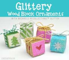 glittery wood block ornaments with recollections glitter