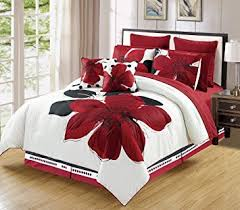 White And Red Comforter Amazon Com 10 Piece Burgundy Red Black White Floral Bed In A