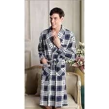 robe de chambre coton homme robe de chambre 100 coton homme quadrillé bleu gris et blanc
