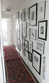 White Rug Runner Decorating White Paint Wall With Photo Collage Ideas And