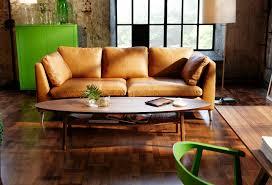 Brown Leather Couch Interior Design Ideas Cozy Family Room Design Classic White Arm Sofa Orange Fur
