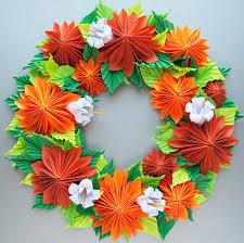 orange dahlia origami paper wreath thanksgiving fall wreath