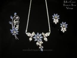 flower necklace earrings images Vintage krementz light blue and crystal rhinestone flower necklace jpg