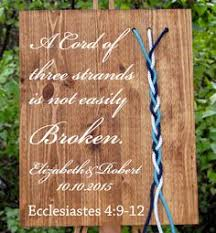 three cords wedding ceremony a cord of three strands wood sign for weddings in walnut featuring