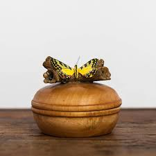 a wooden dish featuring a yellow butterfly on the top half