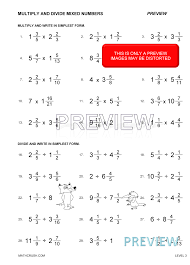 operations with fractions and mixed numbers worksheet worksheets