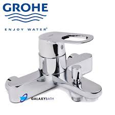 grohe bauloop modern bathroom bath shower mixer tap wall mounted single lever bath mixer 1 2 wall mounted metal lever grohe silkmove 46 mm ceramic cartridge grohe starlight chrome finish adjustable flow rate limiter