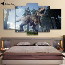 canvas paintings printed 5 pieces jurassic park dinosaurs wall art
