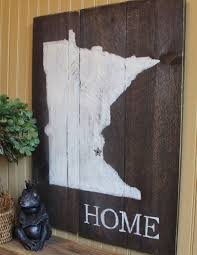 customize with your own state wooden minnesota silhouette home customize with your own state wooden minnesota silhouette home wall decor sign with rusted metal star or heart unique gift idea for anyone