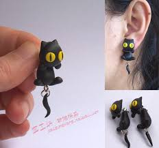 polymer clay stud earrings diy polymer clay soil earring earrings accessories black cat ear