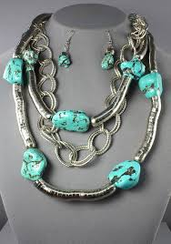 natural stones necklace images Natural stone with metal chain turquoise necklace 104898 jpg