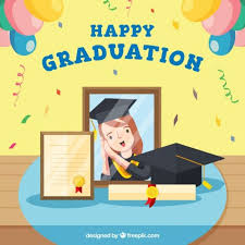 graduation items free vector party background with graduation items in flat design