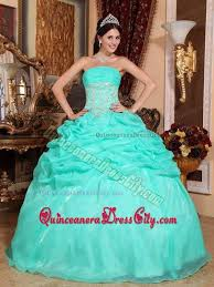 dresses for a quinceanera turquoise strapless appliques decorated waist quinceanera dress