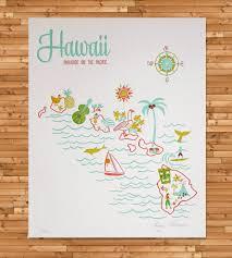 Blank Map Of Hawaiian Islands by Vintage Inspired Hawaii Map Print Vintage Inspired Hawaii And