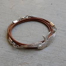 silver leather wrap bracelet images Fly away antique silver vintage sparrow genuine greek leather jpg