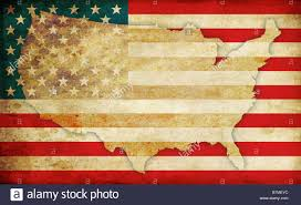 Image Of The United States Map by United States Of America Flag And Usa Map Contour In Old Fashioned