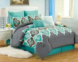 California King Bed Comforter Sets 8 Pc Teal Grey Ogee King Comforter Set Boho Gray Blue Brown