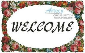 floral welcome cross stitch pattern flowers