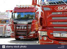 customized truck hameenlinna finland july 15 2017 customized scania trucks on