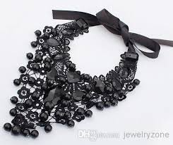 black lace ribbon 2018 vintage black lace ribbon gem bib statement