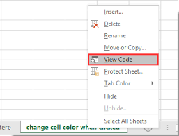 how to change cell color when cell is clicked or selected in excel