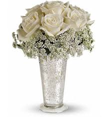 send roses online dazzling white roses in a brilliant mercury glass vase send