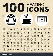 simple set heating related vector icons stock vector 524870284