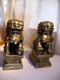 foo dog bookends pair feng shui foo fu lion dogs temple guardian lions