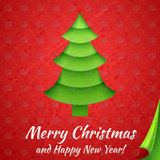 cartoon christmas tree on red background with curled corner vector