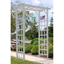 Arbors And Trellises Dura Trel 85 In X 57 In X 22 In White Vinyl Pvc Elmwood Arbor