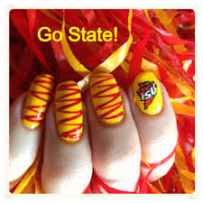 day 19 cardinal and gold iowa state cyclone nails red and gold