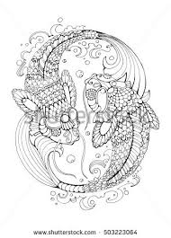 gold fish coloring book adults vector stock vector 497366545