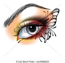eye up with butterfly vector illustration search clipart