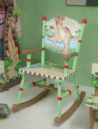 pink kids rocking chair green painted oak wood dinosaur kingdom rocking chair of likable