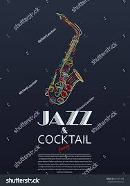 jazz cocktail party poster vector illustration stock vector