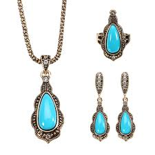blue stone necklace earrings images Jassy bohemian gold earrings natural blue stone necklace retro jpeg