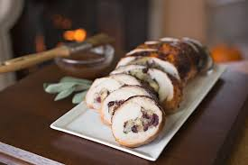 turkey breast roulade stuffed with savory
