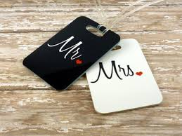 wedding luggage tags personalized set of mr and mrs luggage tags sided