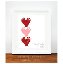 s day gift from baby valentines day gift for new pink baby footprint hearts