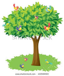illustration tree birds on white background stock vector 122936593