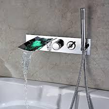 clari wall mounted led waterfall bath filler shower mixer bath