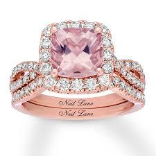 morganite bridal set neil morganite bridal set 1 ct tw diamonds 14k gold