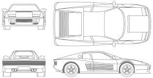 ferrari front drawing 1984 ferrari 512 tr testarossa coupe blueprints free outlines