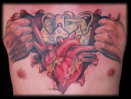 king of hearts chest rip by evan lovett tattoonow