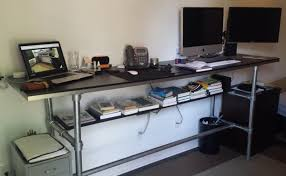 Raised Desk Shelf 37 Diy Standing Desks Built With Pipe And Kee Klamp Simplified