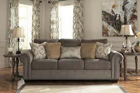 Nailhead Sleeper Sofa Grey Linen Sofa With Nailheads Pertaining To Gray Nailhead