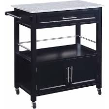 linon cameron kitchen cart with granite top black finish
