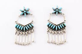 turquoise drop earrings zuni needlepoint turquoise drop earrings by nelson milli